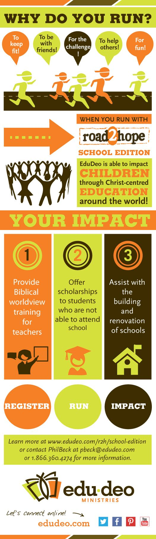 Register your school for Road2Hope: School Edition and help make an impact on Children through Christ-centred education around the world! #Run2Impact #Road2Hope #Education