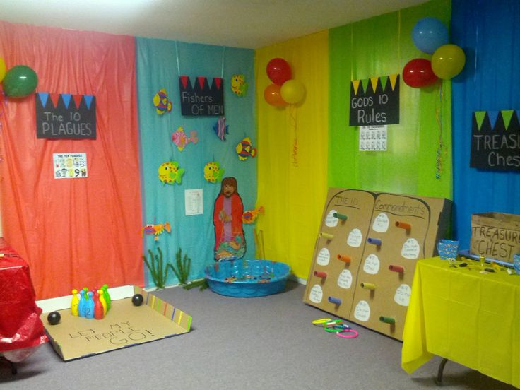 Bible Fun Zone- Added finishing touches with balloons Can't wait for my kids to see their room on Sunday.
