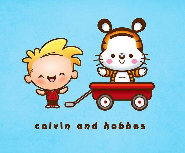 Kawaii Calvin and Hobbes!! :) #ComicStrips #CalvinAndHobbes