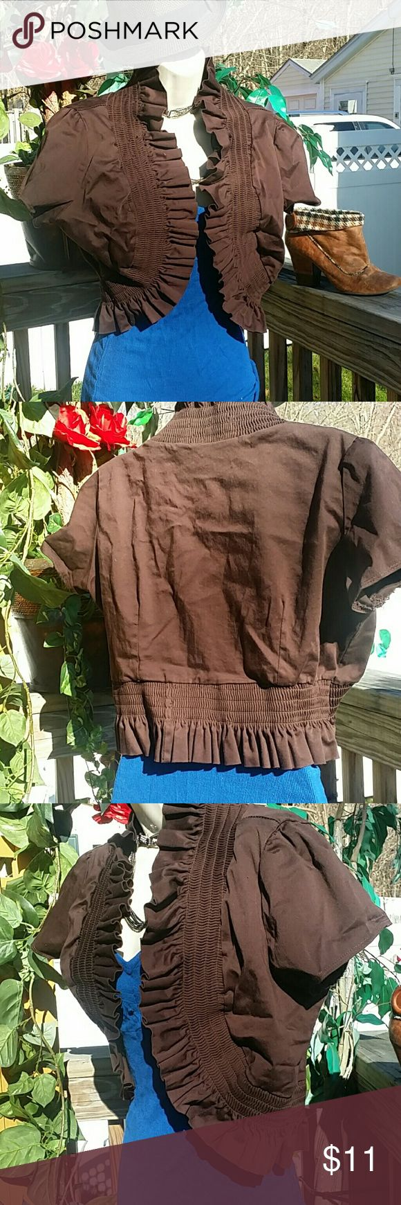 🌰SEXY GODDESS TOP GREAT FOR T-DAY! Add on to any outfit! Jeans Leggins you name it! Beautiful brown, I would say size med but can fit so many! It has large arm openings this is fantastic!  elastic and ruffled all around the bottom and top for the gathered look! Super unique!  Thanks for looking make an offer! WILL STEAM BEFORE MAILING ❤ Goddess Jackets & Coats