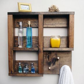 ♥ Each Shelf is HANDMADE IN PENNSYLVANIA, USA  A nicely rustic yet elegant touch for your bathroom. This beautifully handcrafted shelf with towel hooks will enhance any bathroom. Its is perfect for smaller bathrooms that dont offer a lot of shelf space or just need something special. It features 3 hooks, for towel, bathrobes, etc. All the hooks on this model are covered with a copper cap. Not only does it look elegant and protects the edge of the wood from fraying, it protects your towels as…