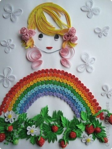 """Хомячок Challenge: Итоги квиллинг-задания № 3 """"Дары лета"""" - Quilled Rainbow, a Cute Little Girl, Butterflies, and Strawberry Blossoms and Berries - so cute. - I'd name this one """"April Showers""""."""