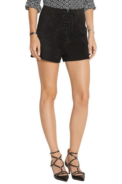 ALEXA CHUNG for AG Jeans The MABEL High Rise Suede Shorts Size 30 ~NWT~ $748  #AGAdrianoGoldschmied #LeatherShorts