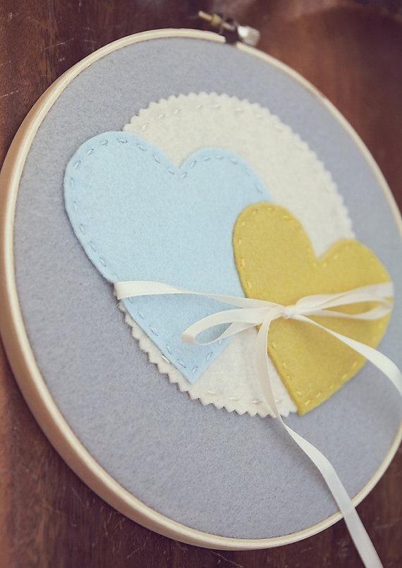 Embroidery hoop art ring bearer pillow alternative