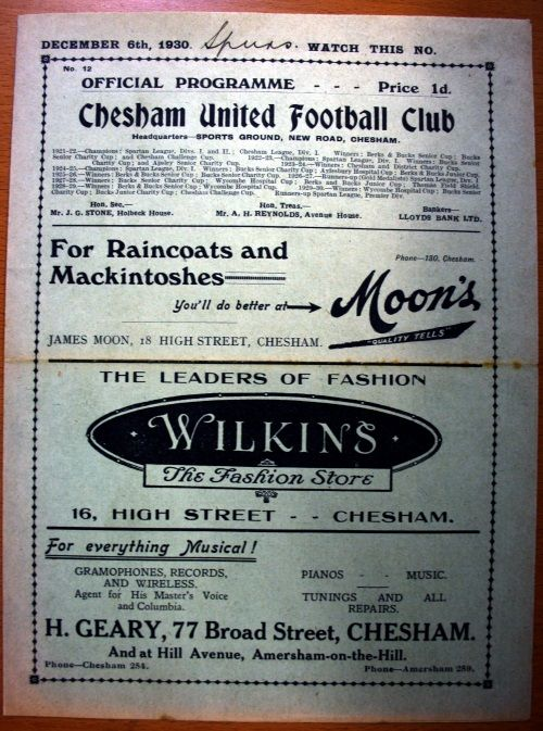 Chesham United v Tottenham Hotspur December 1930