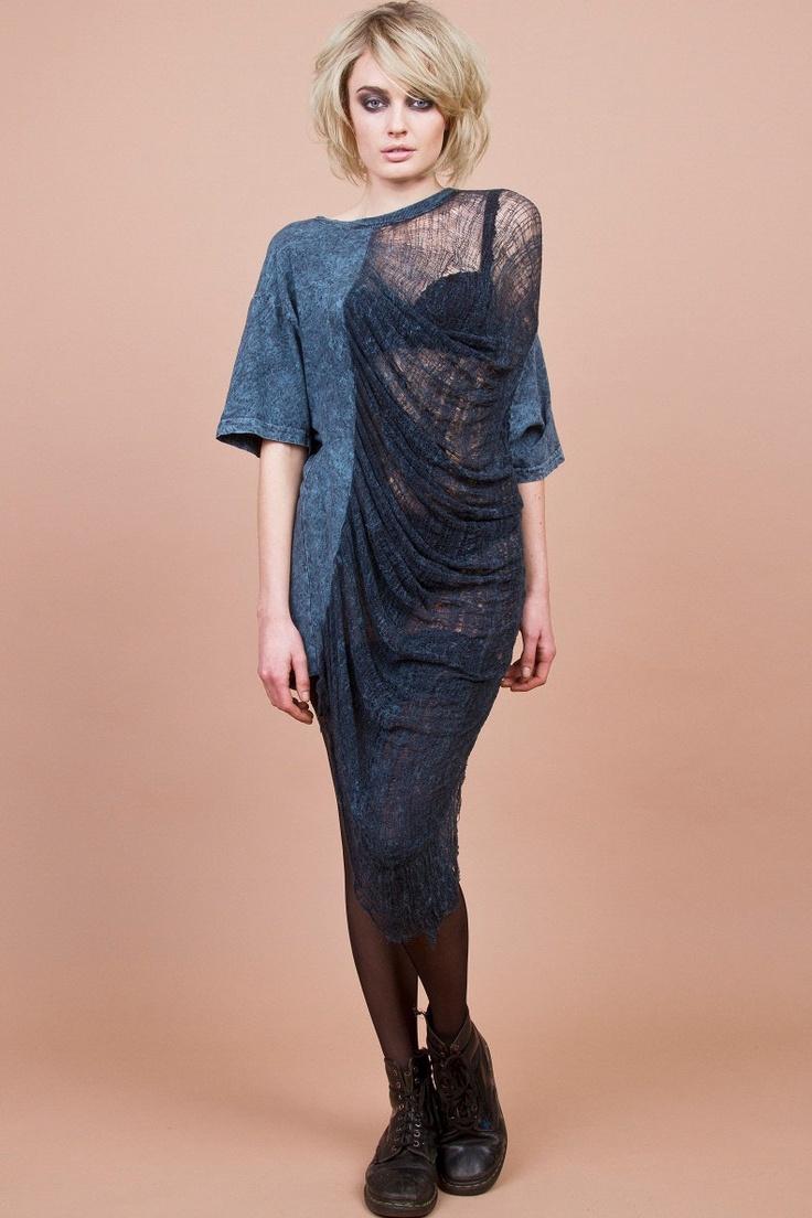 Shredded Shirt/ Dress Acid Wash Blue.