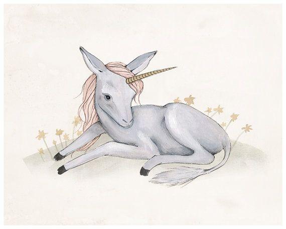 Baby Unicorn Print  8X10 by KelliMurrayArt on Etsy, $25.00