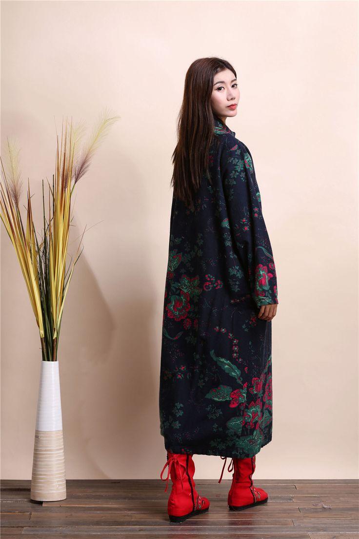 Cheap Stile folk retrò delle donne nuovo cappotto invernale tela del cotone stampato floreale camicia semplice giacca a vento d518, Compro Qualità Trincea direttamente da fornitori della Cina: