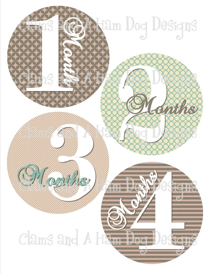 Monthly onesie stickers- Girls Lavender and teal patterned circles- baby girl- perfect baby shower gift. $8.50, via Etsy.