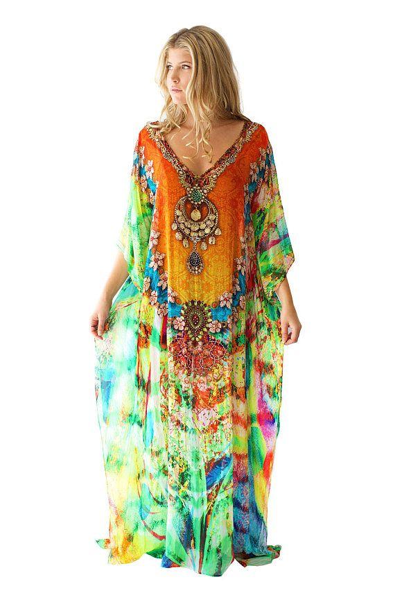 Vestido Kaftan 100% Georgette viscosa multicolor pesadamente