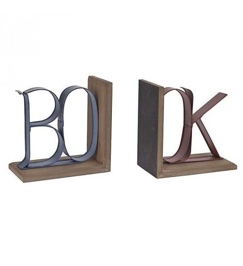 S_2 WOODEN_METAL BOOKEND12(24)X13X23