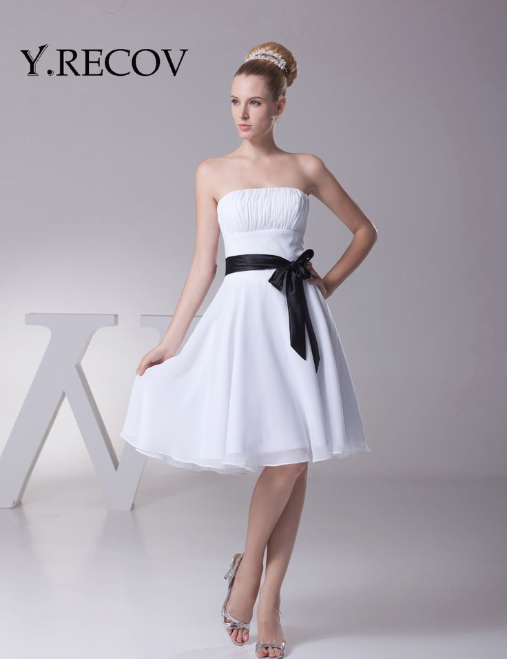Short White Dresses for Juniors YD2111 A-line High School Graduation Dress Knee Length Chiffon White Dresses