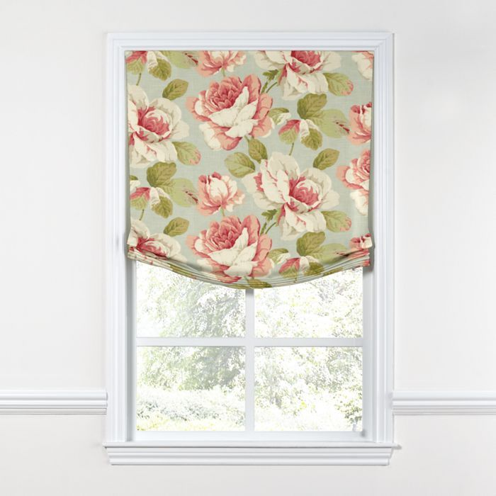 Window Treatments Interiordesign: Aqua & Pink Rose Relaxed Roman Shade
