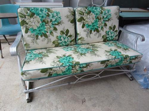 Vintage 50u0027s Patio Glider W/ Original Cushions Aluminum