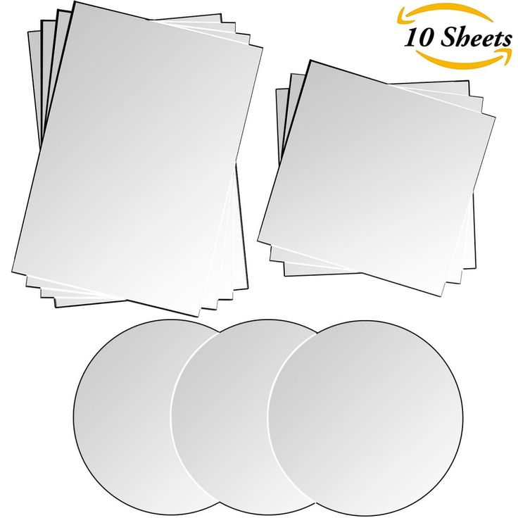 Aneco 10 Sheets Mirror Sheets Self Adhesive Mirror Plastic Tiles Wall Mirror Sti