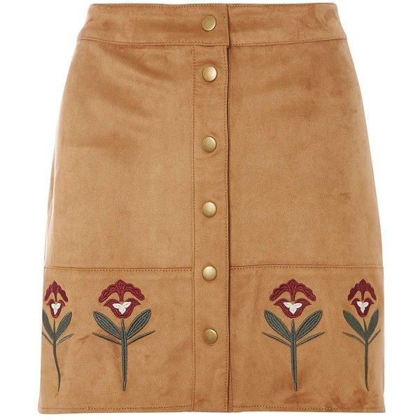 Dorothy Perkins Tan Embroidered Suedette Skirt found on Polyvore featuring skirts, brown, dorothy perkins, embroidered skirt, beige skirt, brown skirt and tan skirt