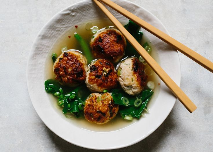 Ginger-Chicken Meatballs with Chinese Broccoli - Bon Appétit...wonder if i can make these with turkey?