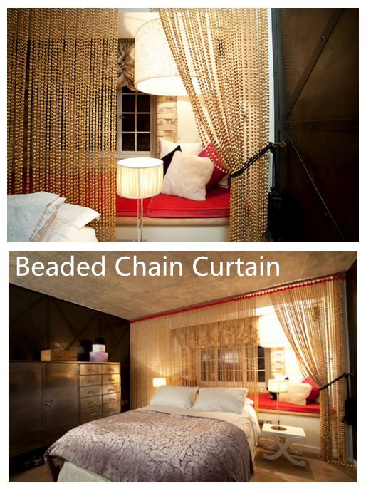 Beaded chain curtain in bead roomcreating a wonderful separate space next to window & 33 best Metal Ball chain images on Pinterest | Ball chain Chains ...