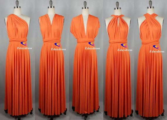 Orange Full Length Long Infinity Wrap by Dresslongbridal on Etsy