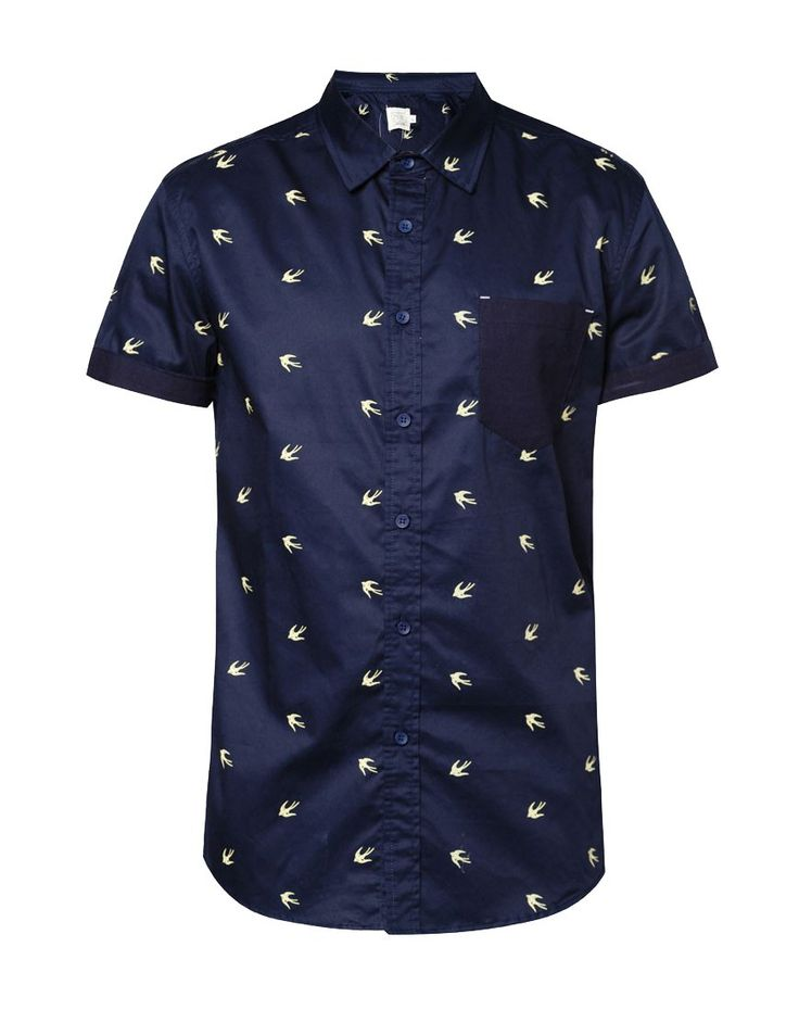 Overall Bird Print Short Sleeve Cotton Poplin Shirt  by 24:01. Blue shirt with a bird pattern allover, this blue shirt made of cotton, front button, short sleeves, look casual with this  a cool pattern shfort, perfect for casual style, pair it with a jeans and chukka boots for casual style.   http://www.zocko.com/z/JHksj