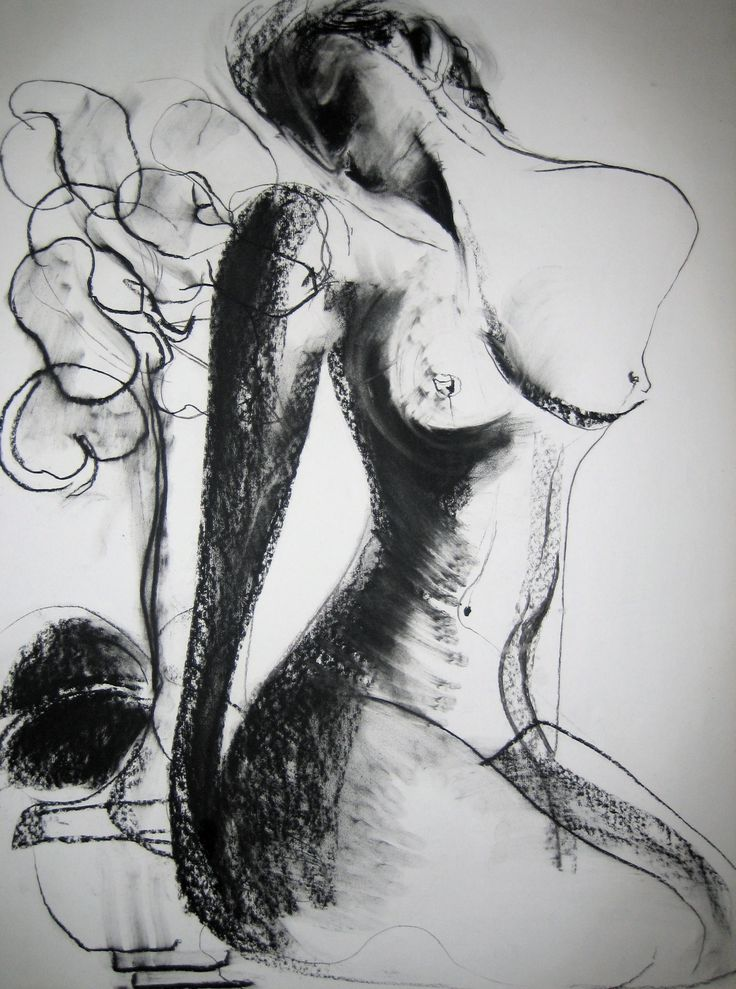 'Nude With Plant', charcoal on paper, 81cm x 57cm (c)Carmel Jenkin. More info about me & my art at http://carmeljenkin.com