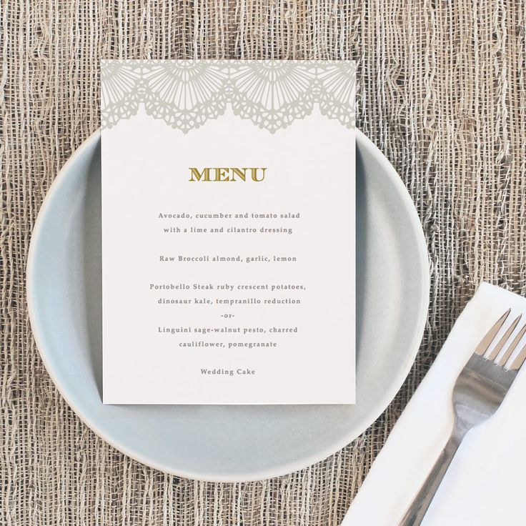 Printable Wedding Menu Template | INSTANT DOWNLOAD | Lace | 5x7 | Editable  Colors | Mac  Menu Templates For Word