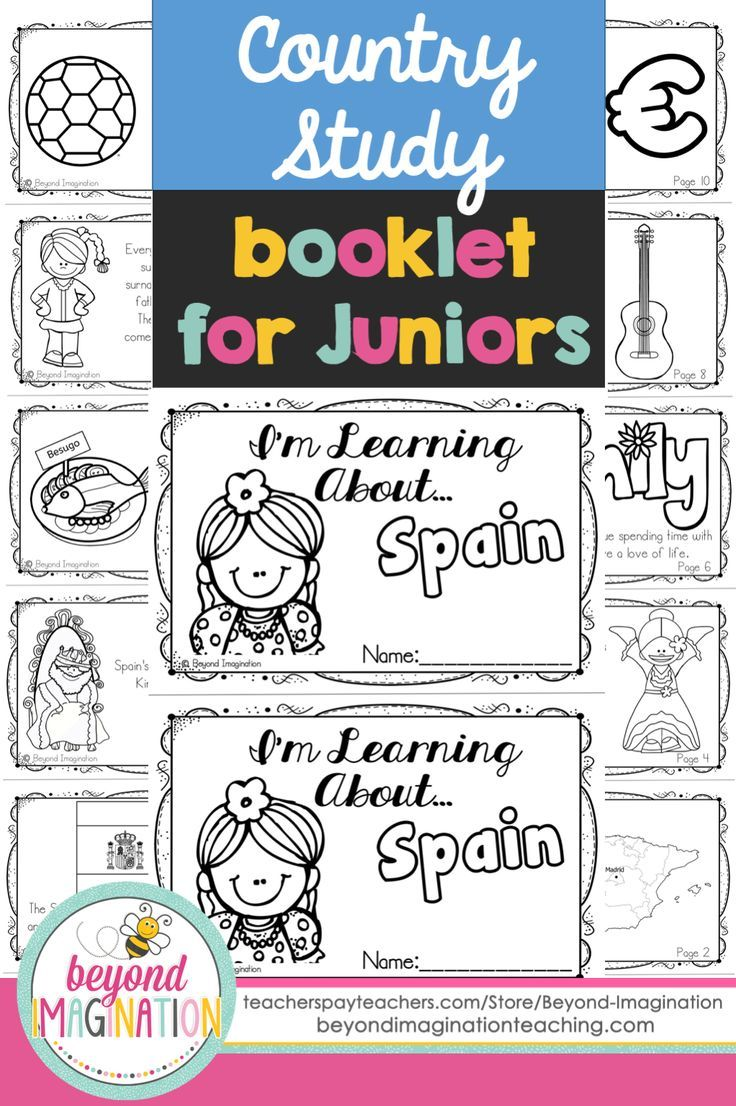 Spain country study booklet for juniors by Beyond Imagination. Perfect for teaching young ones fun facts about Spain for a social studies lesson. This Spain country study booklet includes basic information about:   -The Spanish flag -The map of Spain -Spains official name  -Flamenco dance -Food & Spanish culture  -Spanish families and a love of life  -Spanish surnames  -Spanish musical instruments  -Spains love of football (soccer) -Spanish currency  -Spanish sayings.
