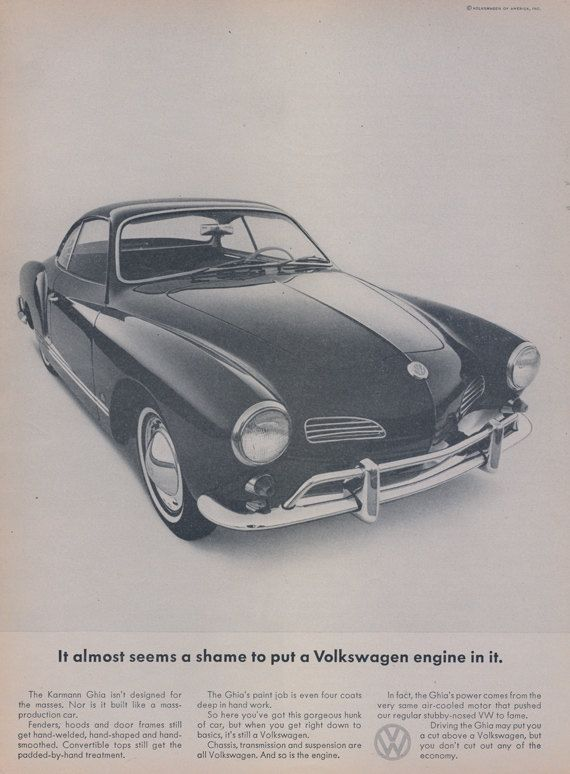 1965 Volkswagen Karmann Ghia VW Car Ad Vintage by AdVintageCom