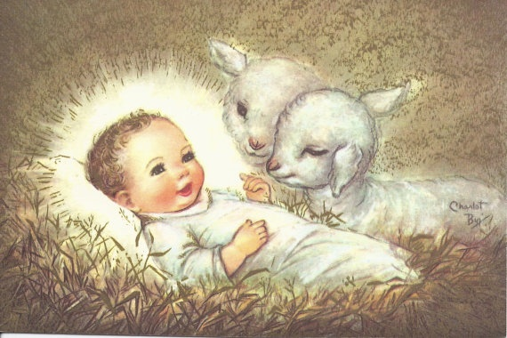 C277 Vintage Christmas Greeting Card by artist Charlot Byj Jesus Baby Sheep. $5.00, via Etsy.