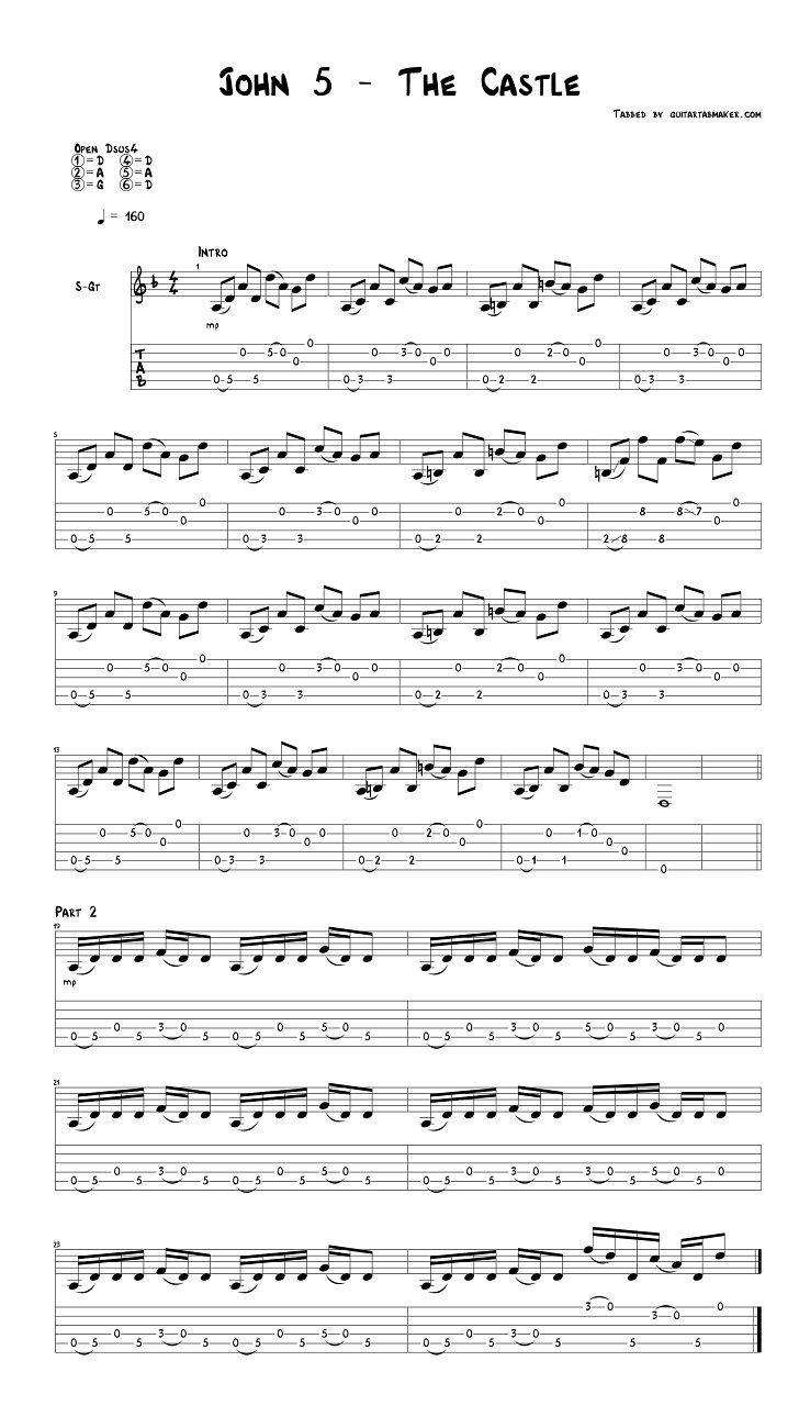 John 5 - The Castle guitar tabs - acoustic fingerpicking guitar tabs - pdf guitar sheet music - guitar pro tab download