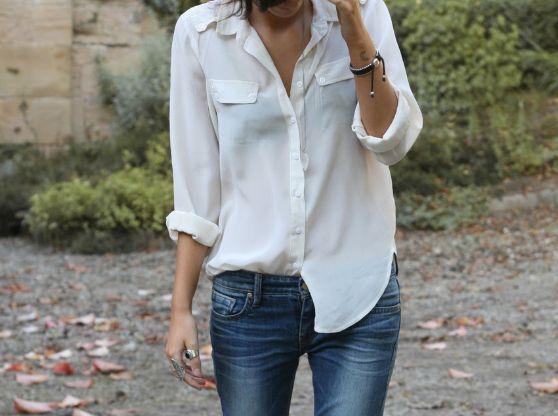 white blouse: Fashion, Style, White Shirts, Outfit, Jeans, White Top