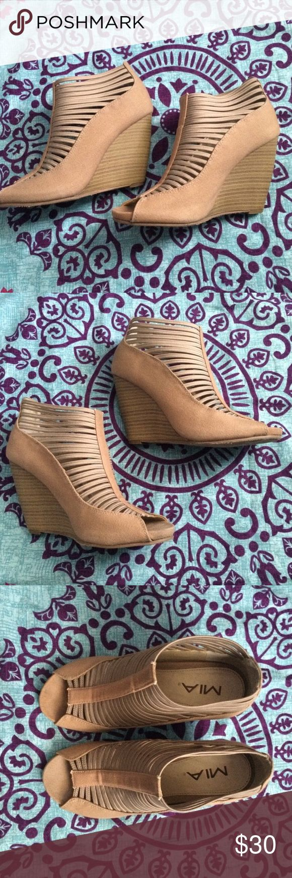 Beige Wedges beige wedges that are caged, no zippers no anything, simply slip on! MIA Shoes Wedges