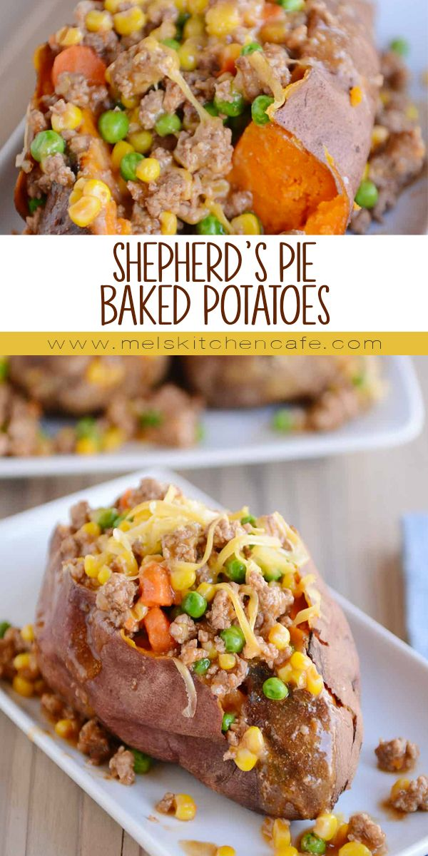 Shepherd's Pie Baked Potatoes! All the flavors of the classic casserole served over baked potatoes (russet OR sweet potatoes!). So easy, so delicious!