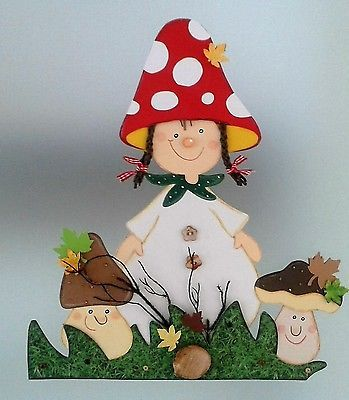 Fensterbild  süßes Pilzmädchen  -Herbst- Dekoration - Tonkarton!