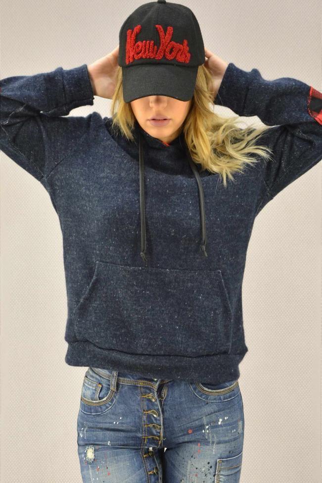 Γυναικεία μπλούζα πλεκτή με κουκούλα  MPLU-0768-bl Πλεκτά - Πλεκτά και ζακέτες