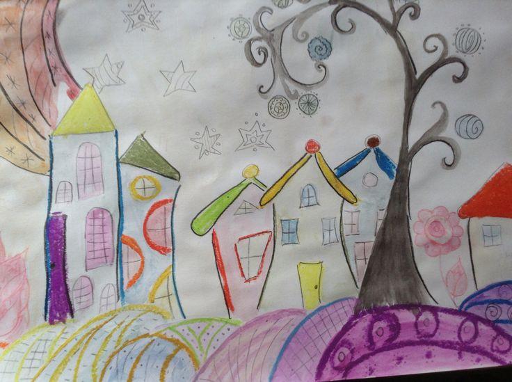 House watercolor, oil pastel