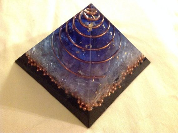 Large Orgone ASG pyramid with Amethyst, Rhodizite, Phenacite, Kyanite, Shungite  4.5 x 4.5 x 4 in tall