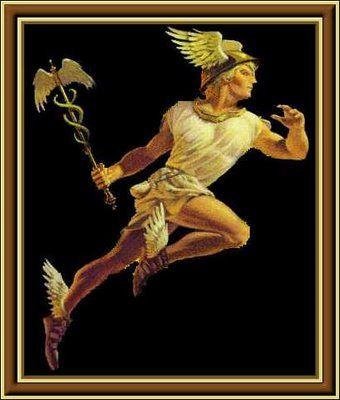 Hermes-Mercurio : Dios olímpico mensajero, Dios de las fronteras y los viajeros que las cruzan. De #Hermes procede la palabra «hermenéutica» para el arte de interpretar los significados ocultos. Se destaca su habilidad en el uso de la palabra, era el orador público, por eso era utilizado como mensajero. Representaba también la astucia y el Ingenio.