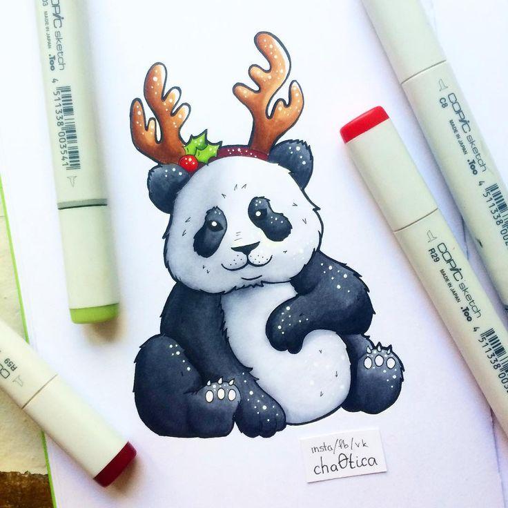 Рисуем открытку новый год маркерами