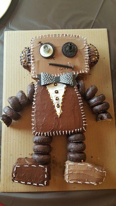 first birthday steampunk robot cake