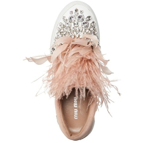 Women's Miu Miu Embellished Feather Slip-On Sneaker (3.550 BRL) ❤ liked on Polyvore featuring shoes, sneakers, flats, miu miu sneakers, slip on sneakers, embellished flat shoes, flat pumps and embellished sneakers