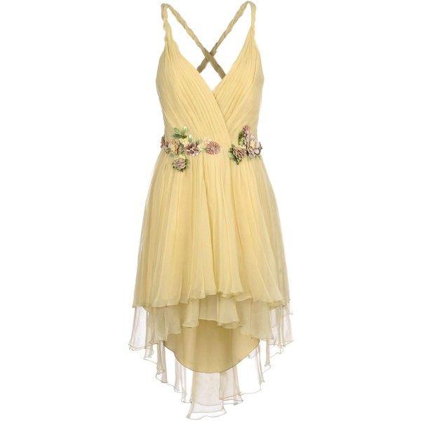 Alberta Ferretti Short Dress ($1,890) ❤ liked on Polyvore featuring dresses, beige, mini dress, beige dress, beige short dress, sleeveless short dress and deep v-neck dress