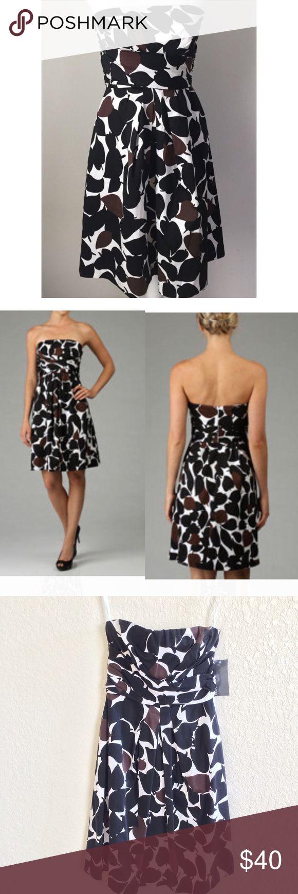 Donna Ricco Printed Dress NWT Donna Ricco Printed Dress NWT. Brown, black, & white leaf design. Has 2 side pockets. Donna Ricco Dresses Strapless