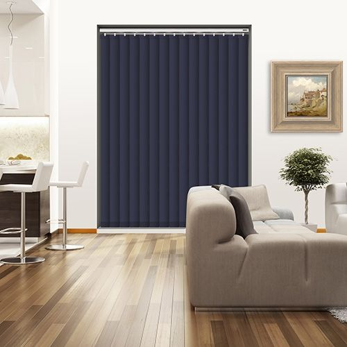 Controliss Oscuro True Navy 240V AC mains RTS remote control electric vertical blind. #blinds #Homedecor #Window #decor #VerticalBlind