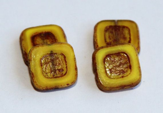 Picasso Finish 12mm Square Beads Shiny Window by BohemianSupplyCo