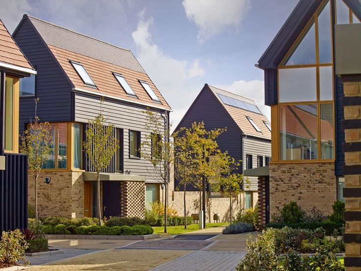 This beautiful street scene from the Abode development at Cambridge exhibits it's modern take on traditional Cambridge Architecture. Designed in conjunction with Proctor & Matthews architects, comprising a stylish mix of contemporary houses and apartments situated across three distinct zones, this development was recently named Development of the Year at the British Homes Awards.