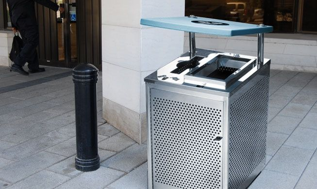 The Bankhead; high quality perforated stainless steel recycling bin for any facility entrance