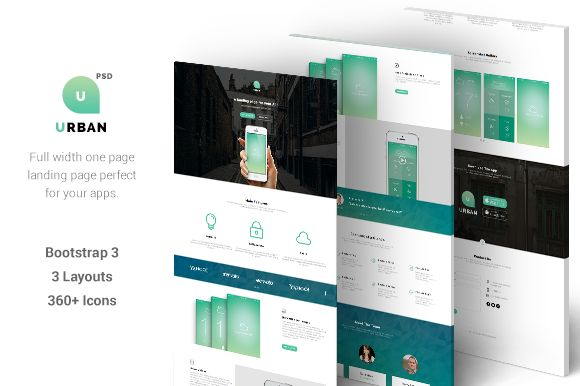 Urban - One Page App Landing (PSD) by gbobbd on @creativemarket