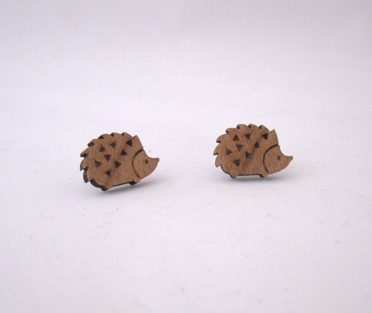 Laser Cut Wooden Hedgehog Stud Earrings.  Woodland Hedgehog Earrings. by BunnaAndDooDesigns on Etsy