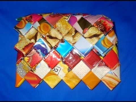 How to Make Candy Wrapper Bags. DIY  | Tramp Art, Hobo Art, Prison Art